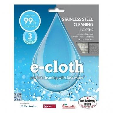 E-cloth šluosčių rinkinys nerūdijančio plieno paviršiams, 2 vnt. 2